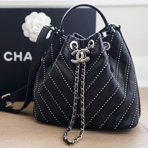 Chanel Black Leather Stud Wars Drawstring Bag